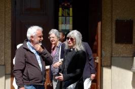 Parishioners outside church, Saint Luke's Fontainebleau