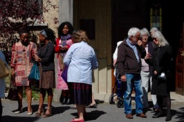 Parishioners chatting after service