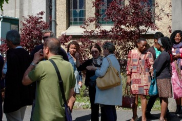 Parishioners gathered outside after service