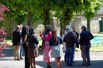Parishioners gathered outside the church
